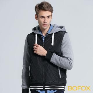 【BOFOX 寶狐】連帽衍縫棒球外套(黑)