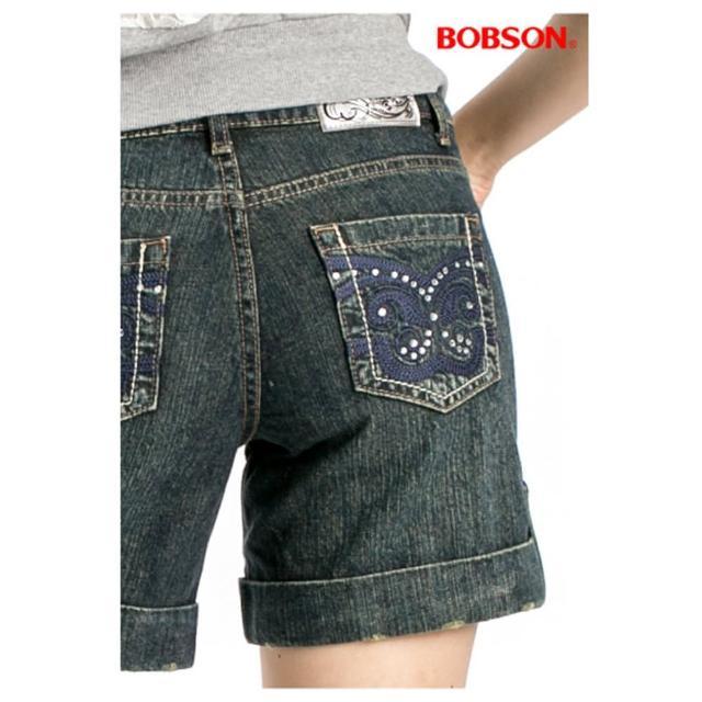 【BOBSON】女款反褶蝴蝶刺繡短褲(復古藍137-77)秒殺搶購
