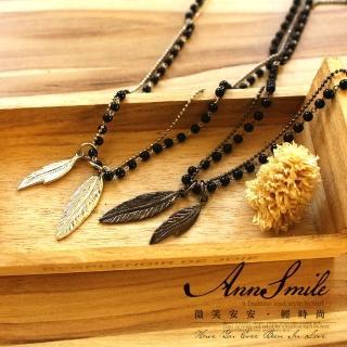 【微笑安安】韓製中性雙葉片珠鍊雙層項鍊‧2色