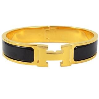 【HERMES】時尚配件經典CLIC H LOGO琺瑯扣式手環(金/黑)