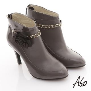 【A.S.O】機能美靴 全真皮花朵金鏈奈米踝靴(灰)