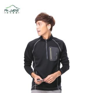 【Mt. JADE】男款i-Cosey Pluto吸排半開襟上衣(經典黑)