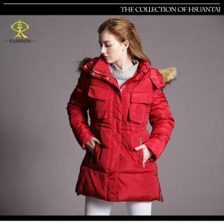 【玄太】保暖簡約抽繩修身鋪棉防風大衣外套(紅)