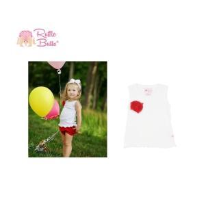 【美國 RuffleButts】甜美小女童背心_紅色小花白色背心(RBTT05)
