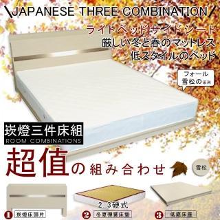 【HOME MALL-秋語雪松崁燈】雙人5尺三件式硬式彈簧床組(雪松色)