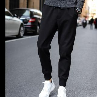【NBL】L03314黑色寬鬆韓版運動褲哈倫褲縮口褲(哈倫褲縮口褲束腳褲)