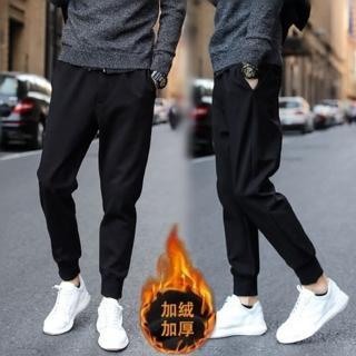 【NBL】L83892黑色韓版運動褲加絨縮口褲(加絨縮口褲束腳褲)