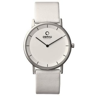 【OBAKU】纖薄哲學二針時尚腕錶-銀框白-大(V143XCWRW)