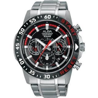 【ALBA】ACTIVE 活力運動計時腕錶-黑/44mm(VD53-X239D AT3967X1)