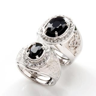 【寶石方塊】龍鳳配天然3克拉+1克拉黑藍寶石對戒-活圍設計