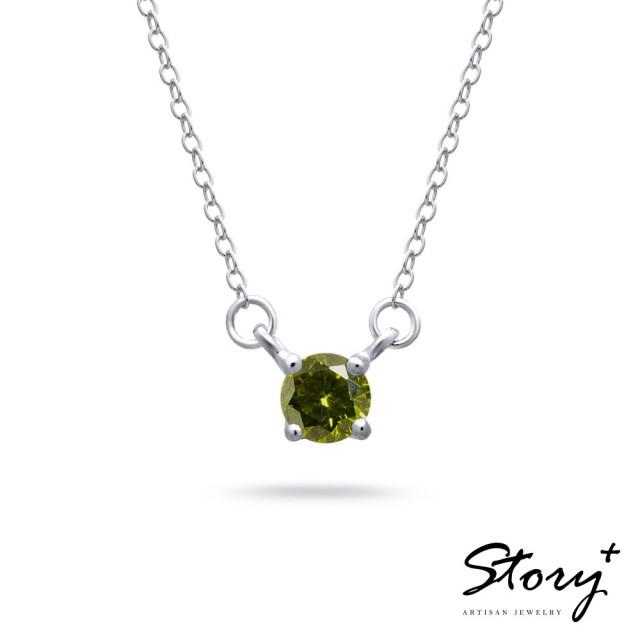 【STORY ACCESSORY】單鑽誕生石-18K純銀鎖骨鍊(8月份 橄欖石)