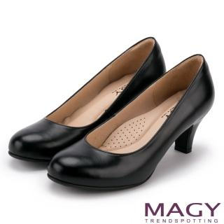 【MAGY瑪格麗特】簡約OL通勤款 素面通勤牛皮高跟鞋(黑色)