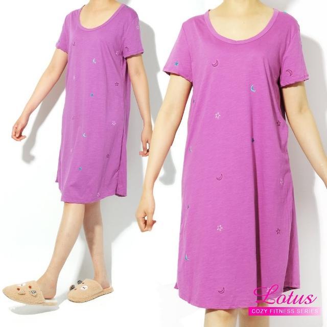 【LOTUS】歐美俏皮點綴短袖睡裙(酒紅色)