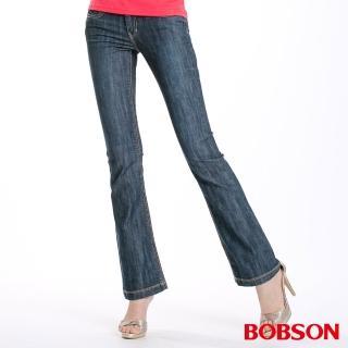 【BOBSON】女款刺繡貼鑽喇叭褲(藍9054-53)