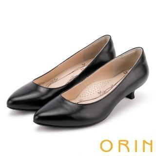 【ORIN】簡約時尚OL 羊皮素面百搭尖頭跟鞋(黑色)