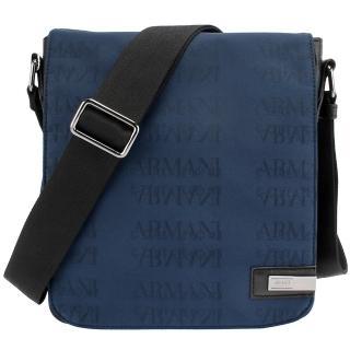 【ARMANI COLLEZIONI】滿板LOGO織紋尼龍磁釦掀蓋斜背包(深藍色)