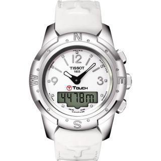 【TISSOT】T-TOUCH II 鈦真鑽多功能觸控錶-白/42.7mm(T0472204601600)