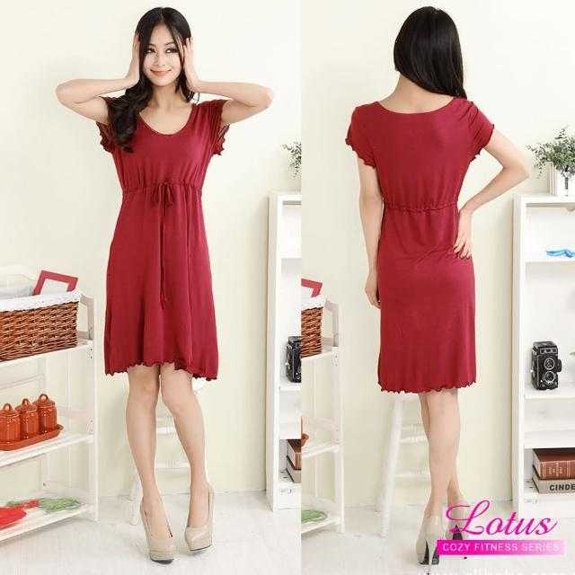 【LOTUS】歐美性感莫代爾繫帶短袖睡裙(紅色)