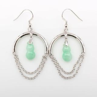 【寶石方塊】平平安安天然翡翠葫蘆耳環-925純銀飾