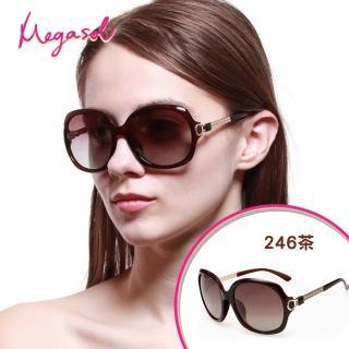 【MEGASOL】寶麗萊UV400防眩偏光手工太陽眼鏡(Dior設計師款三股編織金飾-MS246)