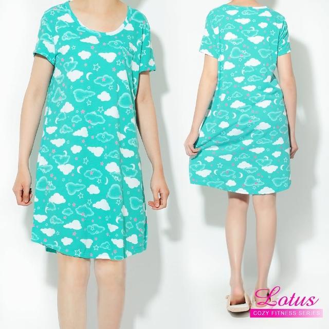 【LOTUS】歐美舒眠可愛雲朵短袖睡裙(藍色)