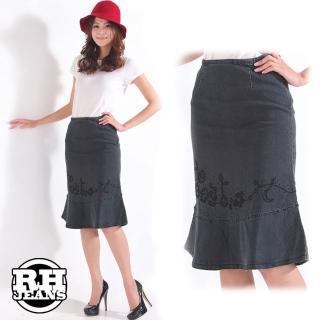 【RH】時尚修身剪裁牛仔魚尾裙(深色系全尺碼M-L-XL)