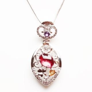 【寶石方塊】落英繽紛天然碧璽墜子-925純銀飾