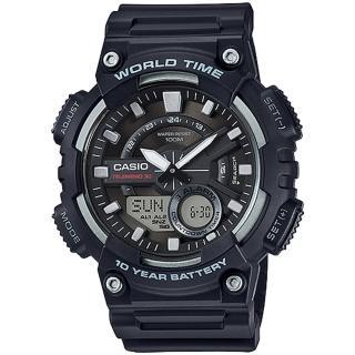 【CASIO 卡西歐】世界時間雙顯電子錶-黑(AEQ-110W-1AVDF)