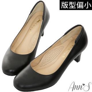 【Ann'S】空姐美腿款全真羊皮中跟包鞋-版型偏小(黑)