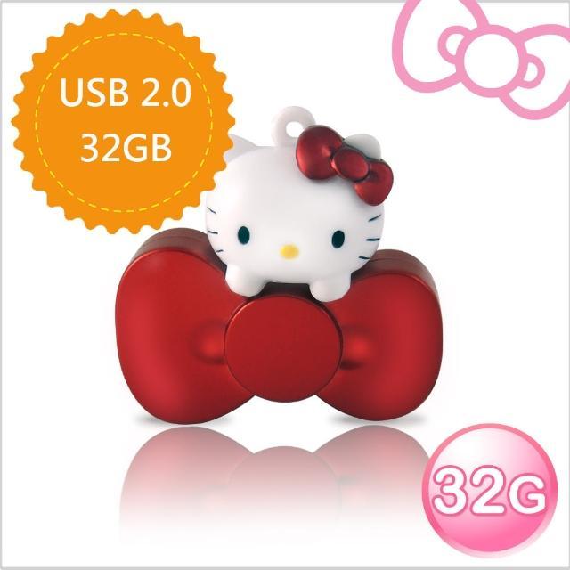 【Hello Kitty】32GB 蝴蝶結系列造型隨身碟(璀璨紅 WH-KT220R-速達)