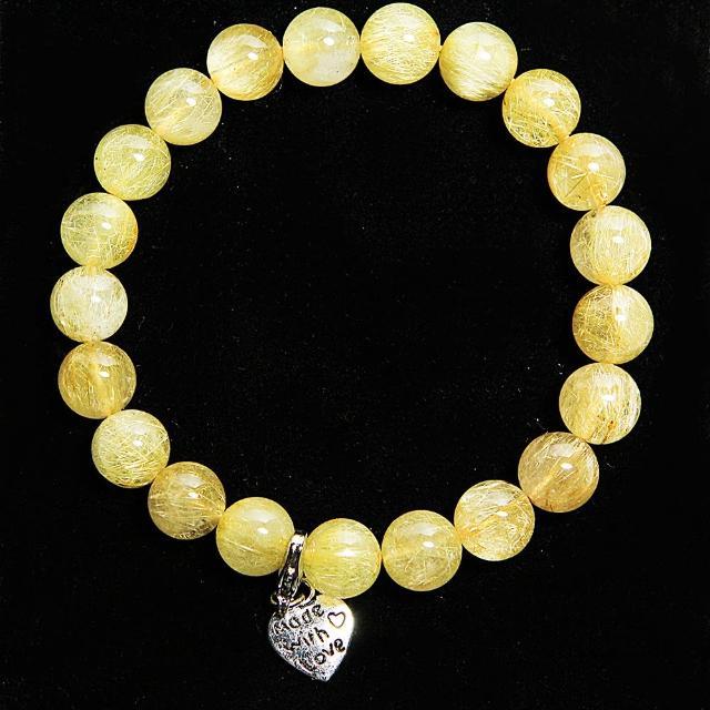 【A1寶石】雙倍吸金-頂級鈦晶、鈦金圓珠手鍊(挑戰最低價)/