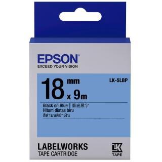 【EPSON】標籤機色帶藍底黑字/18mm(LK-5LBP)