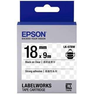 【EPSON】標籤帶 透明底黑字/18mm(LK-5TBW)