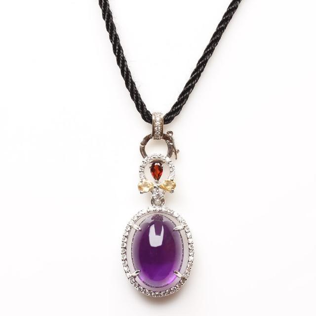 【寶石方塊】青雲直上天然紫水晶項鍊-925銀飾哪裡買?