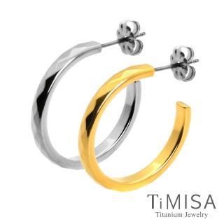 【TiMISA】格緻真愛-細版 純鈦耳環一對(雙色可選)