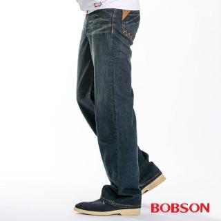 【BOBSON】男款皮革口袋中直筒牛仔褲 1714-52