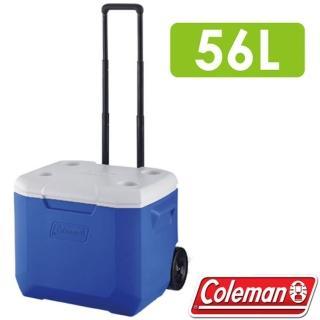 【美國 Coleman】海洋藍托輪冰箱 56L.高效能行動冰箱.保冷保冰箱(CM-27863)