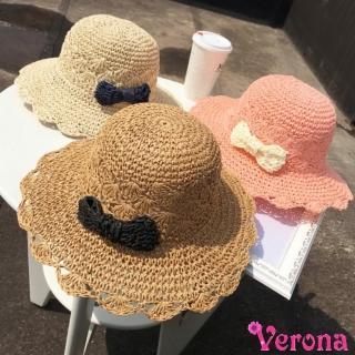 【Verona】韓款時尚小蝴蝶結可摺疊草編帽遮陽帽