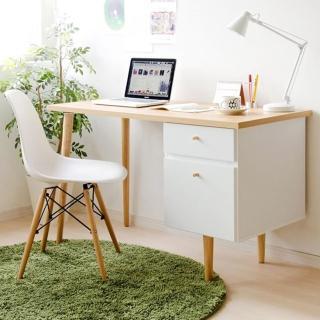 【完美主義】曼德日系雙抽電腦桌/工作桌/書桌(2色可選)