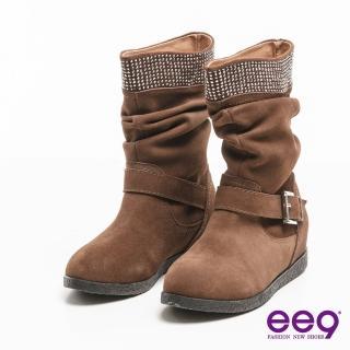 【ee9】聚焦魅力-百搭時尚耀眼晶鑽金屬扣環中筒靴*卡其色(中筒靴)