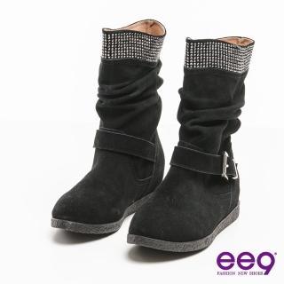 【ee9】聚焦魅力-百搭時尚耀眼晶鑽金屬扣環中筒靴*黑色(中筒靴)