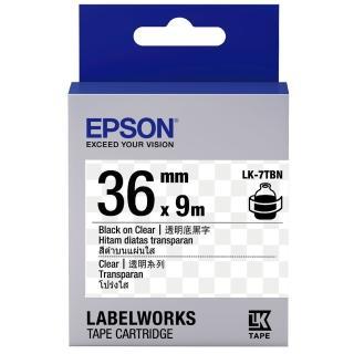 【EPSON】標籤機色帶透明底黑字/36mm(LK-7TBN)