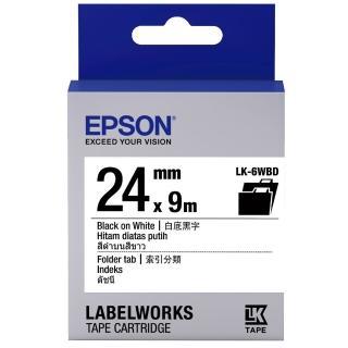 【EPSON】標籤機色帶白底黑字/24mm(LK-6WBD)