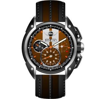 【MINI Swiss Watches】英倫風範運動計時腕錶-咖啡x黑(MINI-04)
