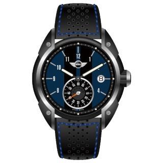 【MINI Swiss Watches】英倫風範運動計時腕錶-黑x藍(MINI-52E)