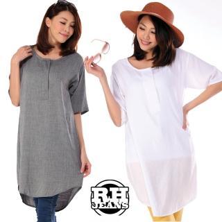 【雪莉亞】韓國極簡上衣(寬鬆長版純色修身上衣)