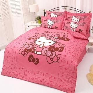 【享夢城堡】精梳棉單人床包涼被三件式組(HELLO KITTY 我的小可愛-粉.紅)