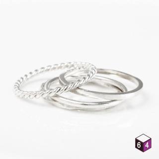 【ART64】純銀戒指 銀 套組共4只 麻花 方扭 圓線 方線 戒指