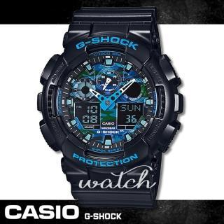 【CASIO 卡西歐 G-SHOCK 系列】街頭流行_迷彩雙顯男錶(GA-100CB)