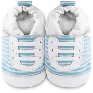 【shooshoos】安全無毒真皮健康手工學步鞋/嬰兒鞋/室內鞋/室內保暖鞋_藍白斑馬紋運動型_101068(公司貨)